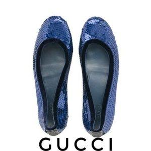 Gucci Guccissima Blue Sequin Ballet Flats